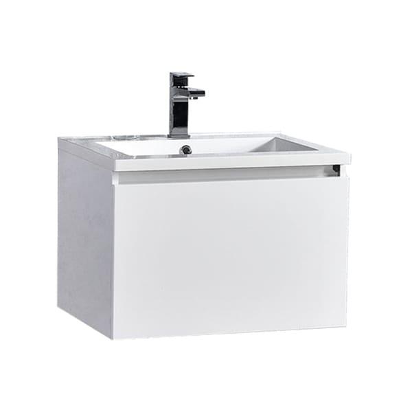 "Sunset 24"" LED Illuminated Single Sink Wall Mount Floating Bathroom Vanity with Acrylic Top 30238037"