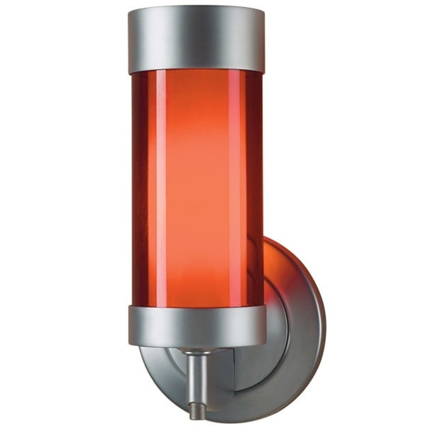 Bruck Lighting Silva Matte Chrome LED Wall Sconce with Red Artisan Glass 30255118