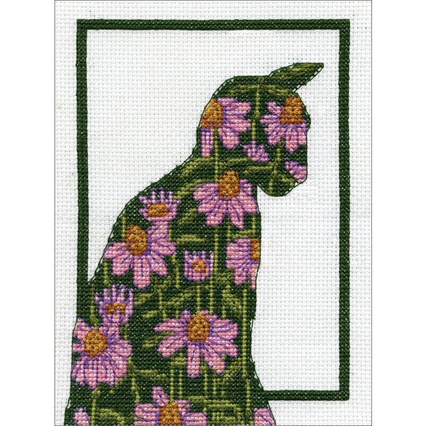 Floral Cat Counted Cross Stitch Kit 30258852