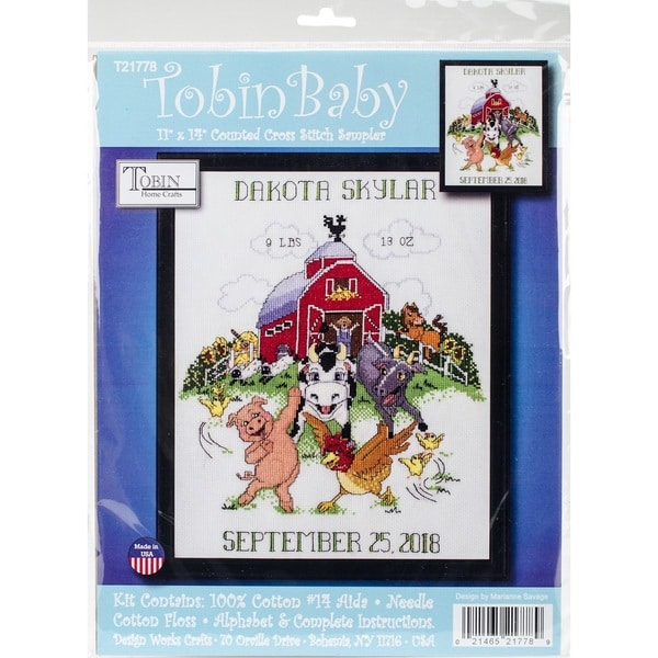 Barnyard Sampler Birth Record Counted Cross Stitch Kit 30259589