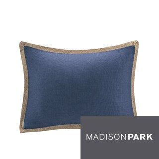 Madison Park Feather Down Filled Linen with Jute Trim Oblong Throw Pillow