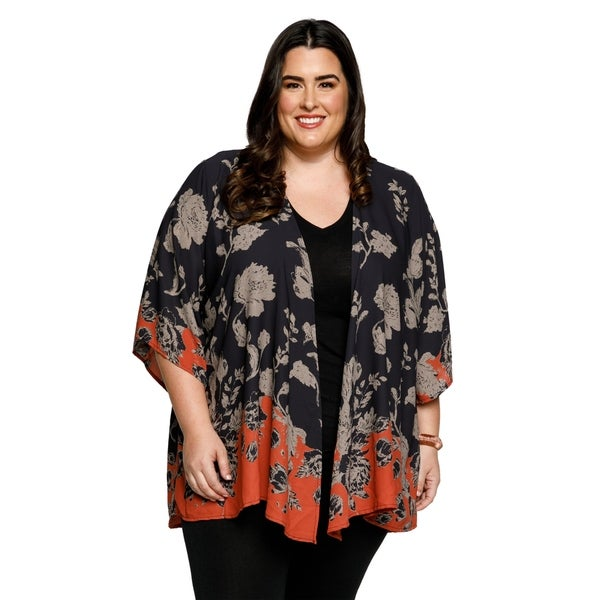 Xehar Womens Plus Size Casual Fashion Contrast Hem Kimono Cardigan 30283947