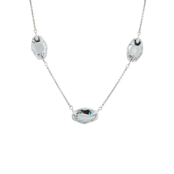 Isla Simone Rhodium Plated Sterling Silver Necklace with 3 Stationed Clear/White Swarovski Elements Crystal E 30353307