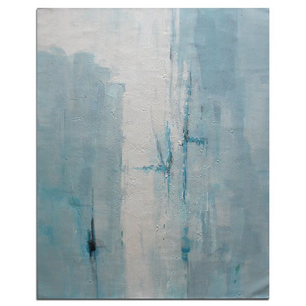 Modern Contemporary Blue and White 36 x 48-inch Abstract Oil Painting on Canvas 30365401