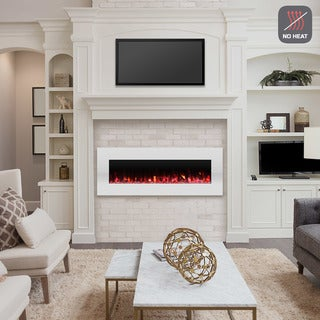 Electric Fireplace-Wall Mounted Color Changing LED Flame, NO HEAT and Remote Control by Northwest (50-inch, White)