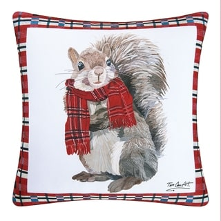Plaid Squirrel Christmas Indoor/Outdoor 18x18 Throw Decorative Accent Throw Pillow