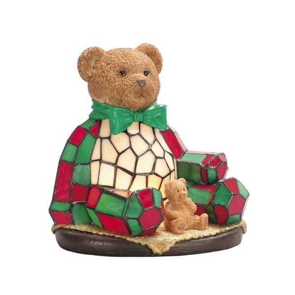 Dale Tiffany Handmade Christmas Noel Bear Tiffany Accent Lamp 30370140
