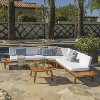 Hillcrest Outdoor 4-piece V-Shaped Wood Sectional Sofa Set with Cushion by Christopher Knight Home
