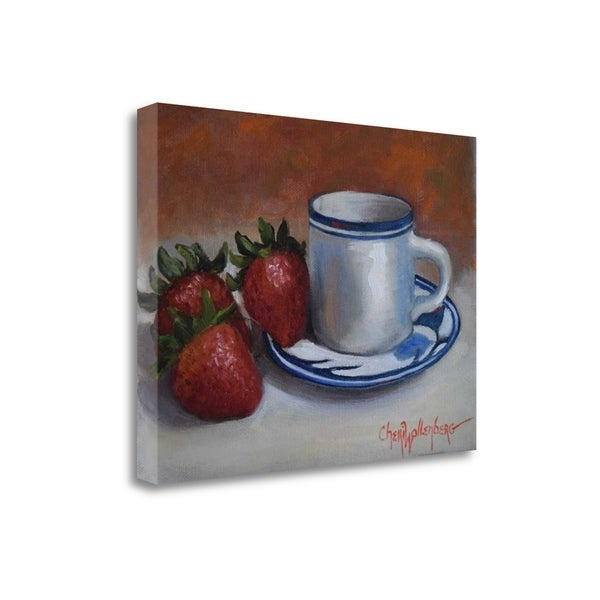 Strawberries And Cup And Saucer By Cheri Wollenberg,  Gallery Wrap Canvas 30411641