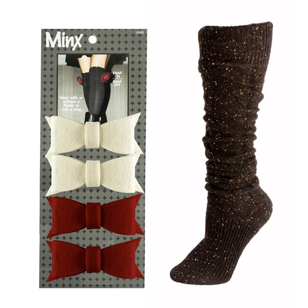 Slouchy Speckled High Boot Socks w/ 2 Pair of Felt Bow Ties 30449756