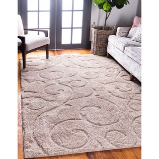 Unique Loom Carved Floral Shag Area Rug