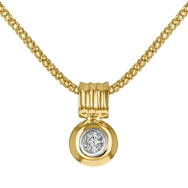 14K Yellow Gold 1/2ct TDW Diamonds Solitaire Necklace on 18 inch Chain - White H-I 30451435