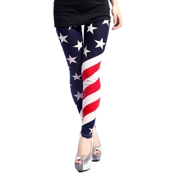 Women's Slim-Fit Patterned Fashion Leggings - American Flag 30461214