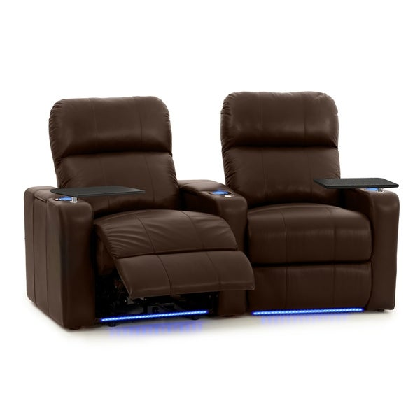 Octane Seating Turbo XL700 Brown Leather Home Theater Power Recliners (Set of 2) 30471530
