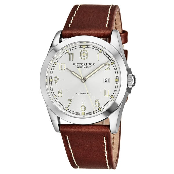Swiss Army Men's V241566 'Infantry' Silver Dial Brown Leather Strap GMT Swiss Automatic Watch 30474897