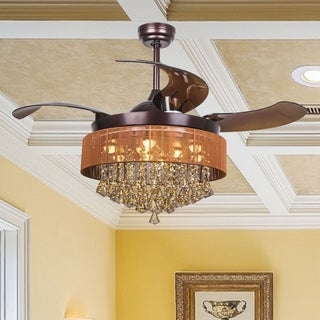 Modern Crystal LED Ceiling Fan with Foldable Blades, Oil-Rubbed Bronze