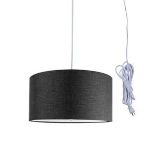 """2 Light Swag Plug-In Pendant 14""""w Granite Gray with Diffuser, White Cord"""