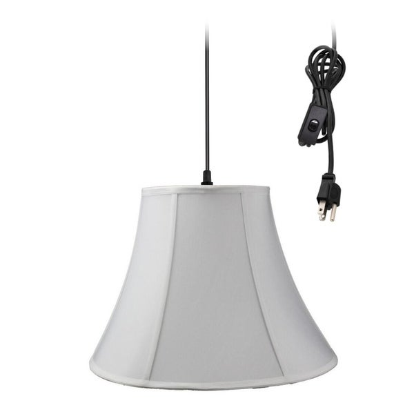 1-Light Plug In Swag Pendant Lamp White Shade 30486755