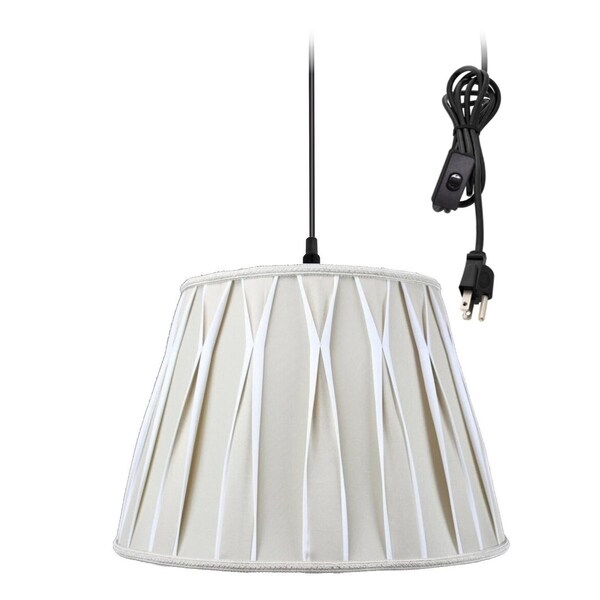 1-Light Plug In Swag Pendant Lamp Biege/Off-White Shade 30486789