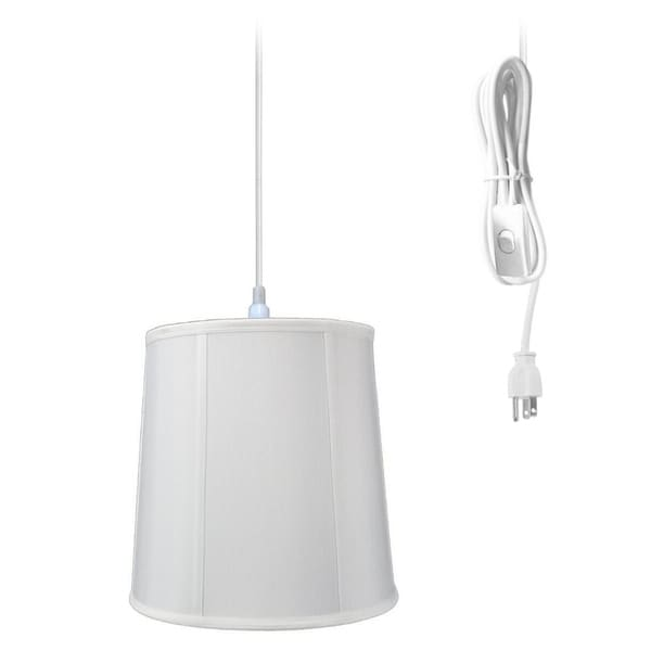 1-Light Plug In Swag Pendant Lamp White Shade 30486915