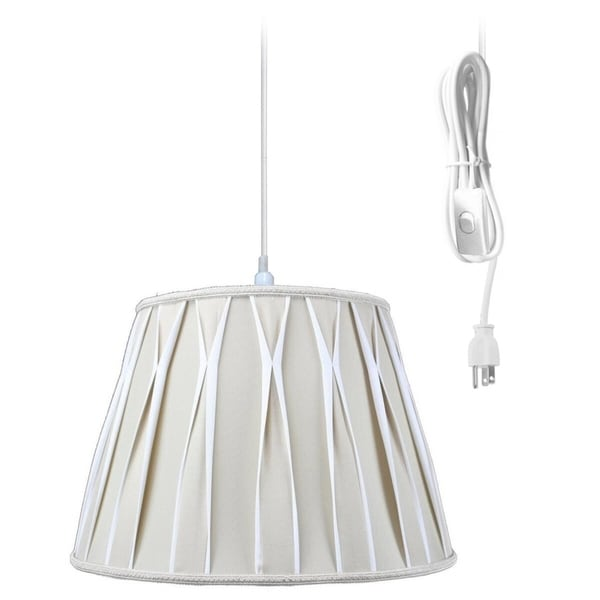 1-Light Plug In Swag Pendant Lamp Biege/Off-White Shade 30486947