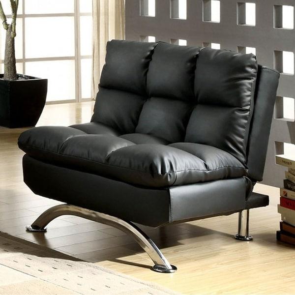 Aristo Contemporary Aristo Single Sofa Chair With Leather, Black