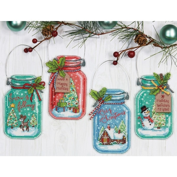Christmas Jar Ornaments Counted Cross Stitch Kit 30490279