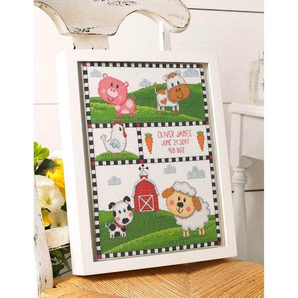 Farm Animals Birth Record Counted Cross Stitch Kit 30490345
