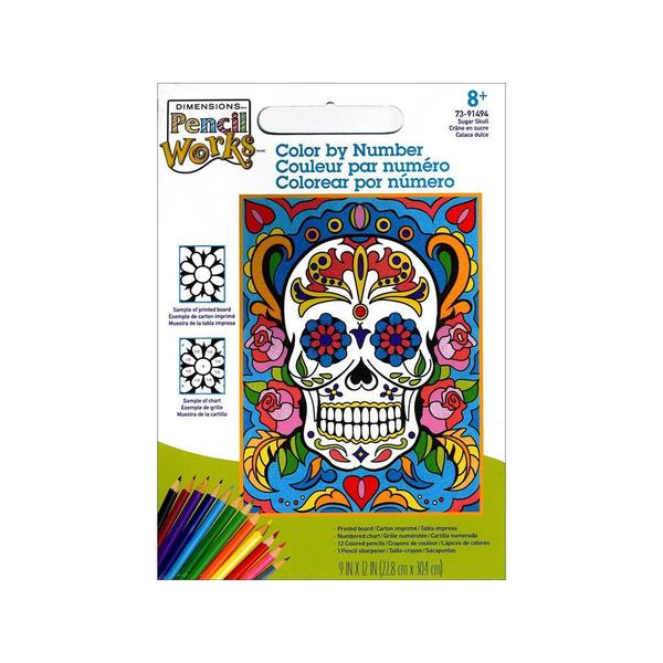 Paintworks Color By Number 9x12 Sugar Skull 30491037
