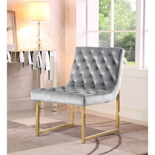 Chic Home Tatiana Tufted Velvet Upholstery Plush Cushion Brass Finished Accent Chair