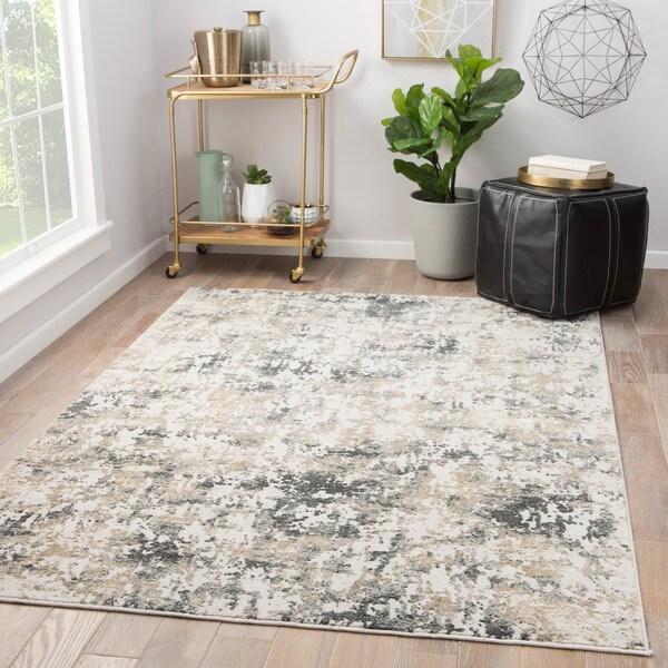 Juniper Home Laramie White/ Grey Abstract Area Rug (10' x 14') 30511513