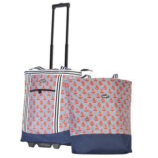 Olympia Cooler Buddy Portable Detachable Rolling Insulated 2-Piece Shopper Tote  Multiple Colorways