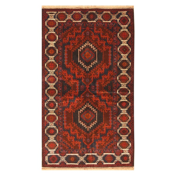 Handmade Herat Oriental Afghan Hand-knotted Balouchi Wool Area Rug (4'1 x 7'4) - 4'1 x 7'4 30524629
