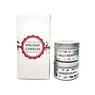 Handmade Holiday Wood Wick Candles Gift Set, Pack of 2