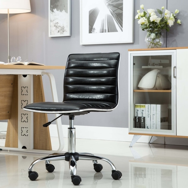 Mid Back Armless Ribbed Task Leather Upholstery Office Chair, Black 30529916