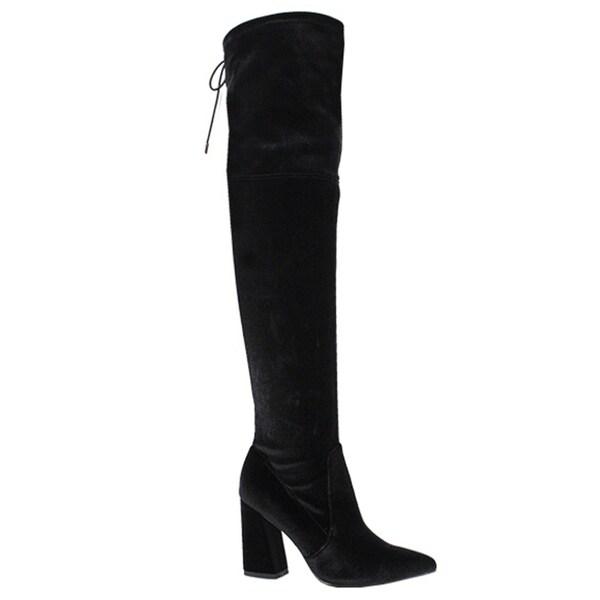 YOKI FK95 Women's Over Knee High Drawstring Chunky High Heel Boots 30531719