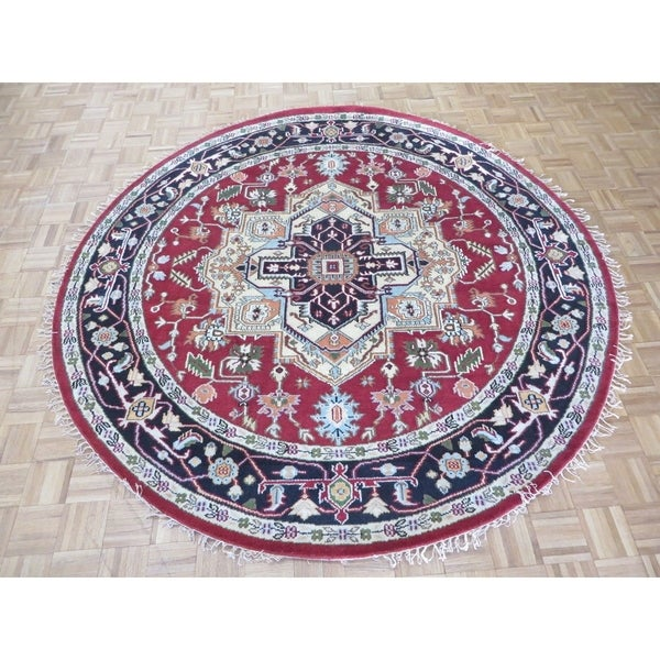 """Hand Knotted Rust Red Serapi Heriz with Wool Oriental Rug (7'10"""" x 8') 30534479"""