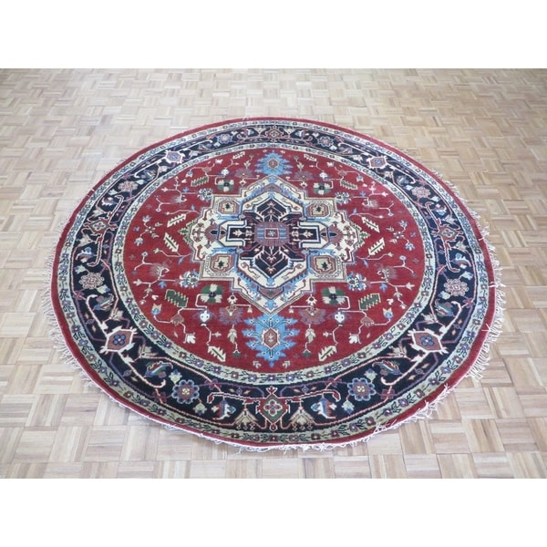 """Hand Knotted Rust Red Serapi Heriz with Wool Oriental Rug (8'9"""" x 8'10"""") 30534492"""