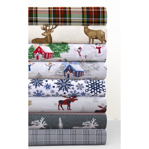 Cozy Flannel Novelty and Holiday Printed Extra Deep Pocket Sheet Set 30536138