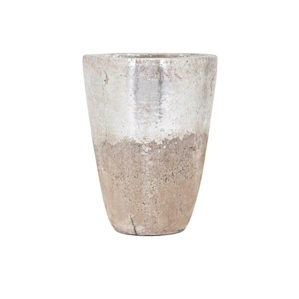 Tala Medium Vase - Silver and beige - Benzara 30604704