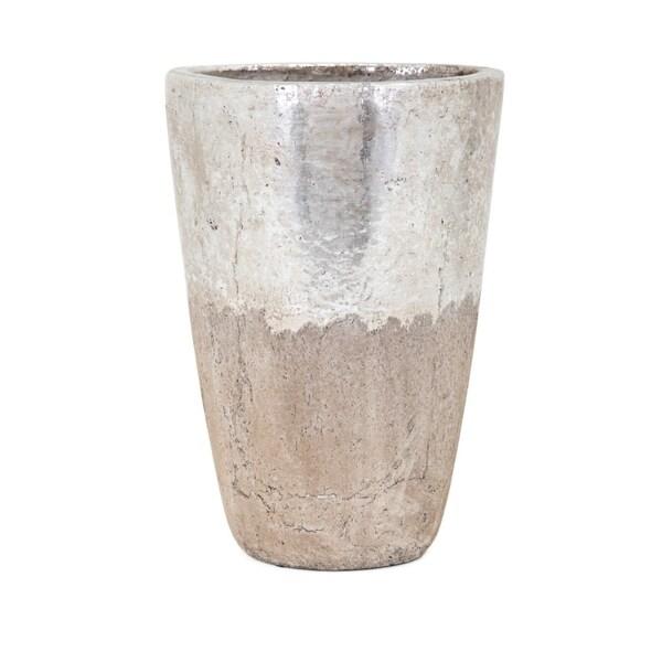 Tala Large Vase - Silver and beige - Benzara 30604714