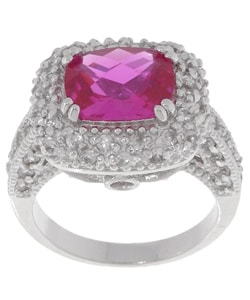 Glitzy Rocks Sterling Silver White and Pink Sapphire Ring
