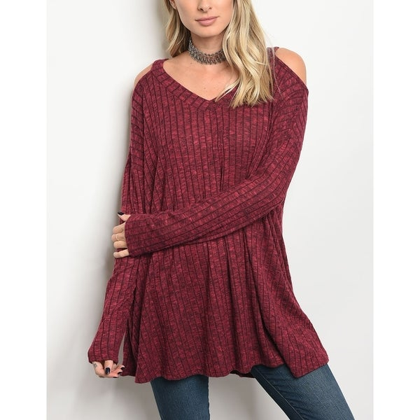 JED Women's Ribbed Stretchy Fabric Off-Shoulder Tunic Top 30639970