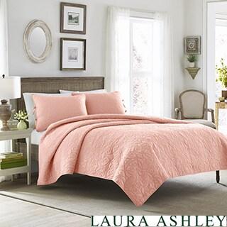 Laura Ashley Felicity Coral Cotton 3-piece Quilt Set