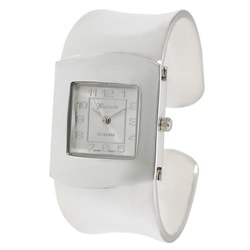 Geneva Platinum Women's Polished Silverplated Bangle Watch