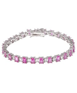 Glitzy Rocks Sterling Silver Created Pink/ White Sapphire Bracelet
