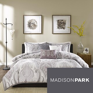 Madison Park Morena Purple Cotton Duvet Cover Set