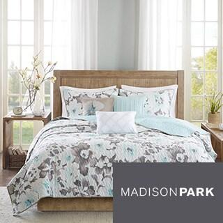 Madison Park Aria Aqua Cotton Quilted Coverlet Set