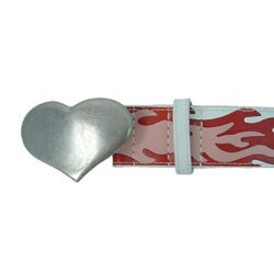 Guess Genuine-leather Red Flame Belt with Metal Heart Buckle