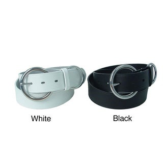 Calvin Klein Women's Italian Leather Belt with Polished Round Buckle